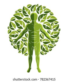 athletic man created using organic green tree leaves. Green tourism, go green idea illustration.