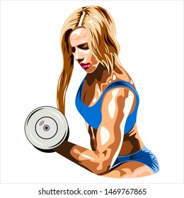 Athletic woman with dumbbells. Isolated on a white background. Gym and fitness club banner or poster design.