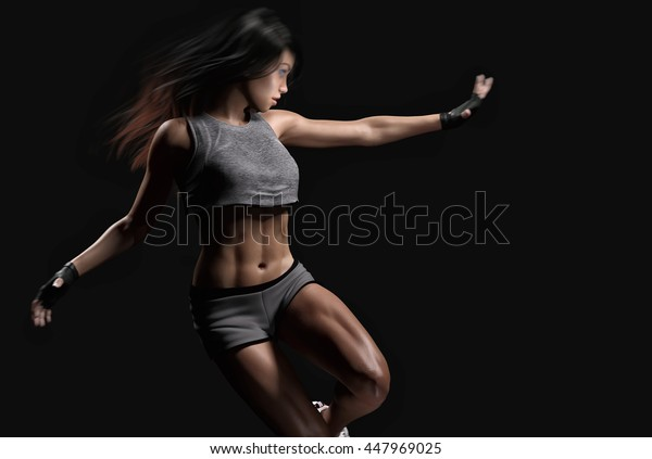 athletic woman moving- 3d rendering
