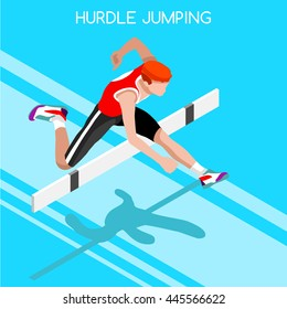 Athletics Hurdle Jumping race Summer Games Icon Set. 3D Isometric Athlete. Sporting Championship International Athletics Competition. Sport Infographic Athletics Hurdler Jumping event Image.