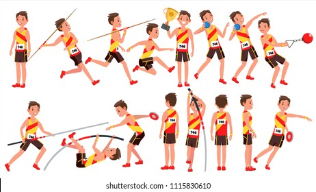 Athletics Male Player. Playing In Different Poses. Man Athlete. Isolated On White Cartoon Character Illustration