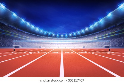 athletics stadium with race track finish view sport theme render illustration background