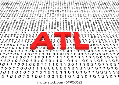 ATL in the form of binary code, 3D illustration