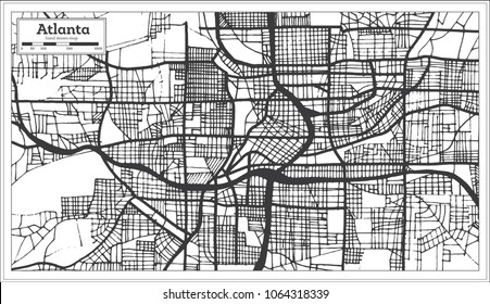 Atlanta Georgia USA City Map in Retro Style Black and White Color. Outline Map.