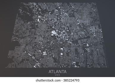 Atlanta map, satellite view, United States