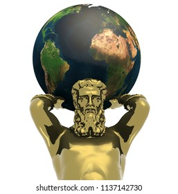 Atlante golden statue with earth, 3d illustration. Elements of this image furnished by NASA.