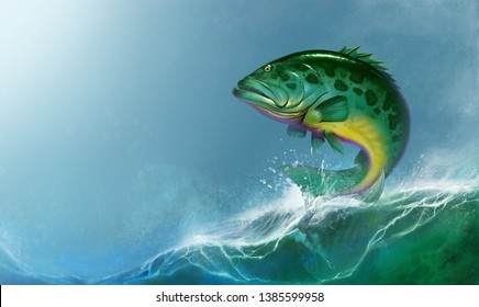 Atlantic goliath grouper big fish on water. Atlantic goliath grouper big green fish jumps out of the waves realistic illustration background.