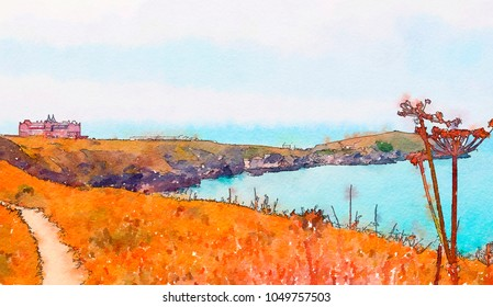 Atlantic ocean view in Newquay , watercolor style
