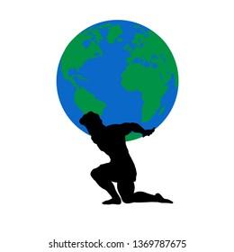 Atlas Titan god holds earth silhouette ancient mythology fantasy. JPG illustration.