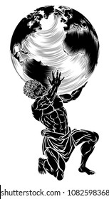 Atlas titan from Greek mythology symbol of strength sentenced by the Gods to hold up the sky represented by a globe