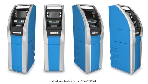 ATM, cash machine. 3d illustration set. Isolated on white