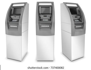 ATM cash machine 3d image set. Isolated on white