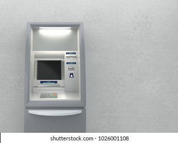 Atm machine against grey wall with copy space. 3D illustration