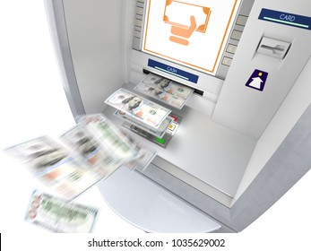 ATM machine with banknotes flying out, isolated on white background. Winning lottery and easy money concept. 3D illustration