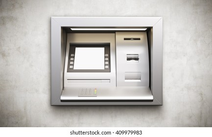 ATM machine with blank display built into conrete wall. Mock up, 3D Rendering