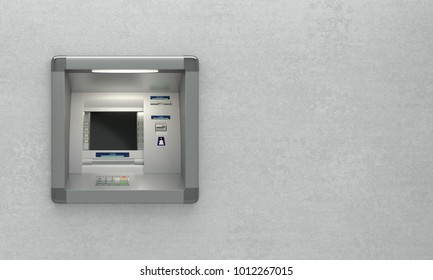 Atm machine isolated on grey background, front view, with place for text. 3D illustration