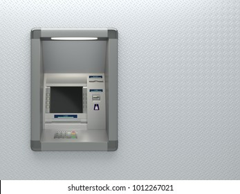Atm machine on grey background with copy space for text. 3D illustration