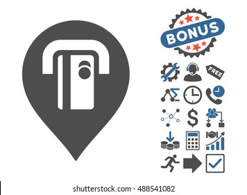ATM Machine Pointer icon with bonus icon set. Glyph illustration style is flat iconic bicolor symbols, cobalt and gray colors, white background.
