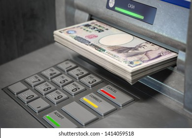 ATM machine and yen. Withdrawing  100 yen banknotes. Banking concept. 3d illustration