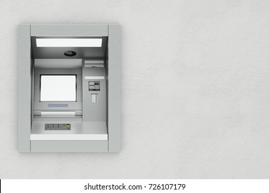 ATM teller machine on bank wall as finance or money concept (3D Rendering)