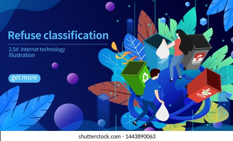 Atmospheric Classic 2.5D Protected Earth Garbage Classification Illustration