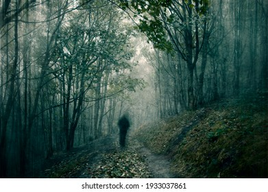An atmospheric, moody concept. Of a ghostly figure standing on a forest path on a foggy day. With a grunge, textured edit.
