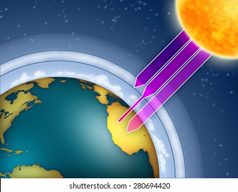 Atmospheric ozone filtering the sun ultraviolet rays. Digital illustration.