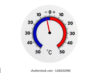 Atmospheric plastic meteorology thermometer isolated on white background. Air temperature minus 4 degrees celsius