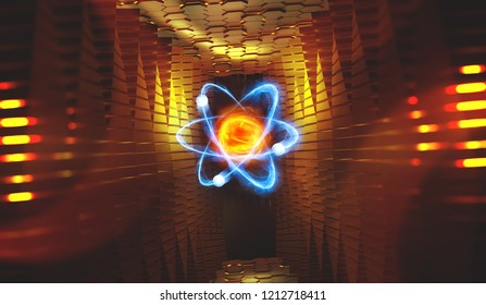 Atom. 3d illustration of an atomic reactor. Bbasis of universe. Study of structure of universe. Hadron Collider and Future Technologies