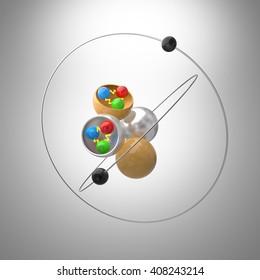 Atom model with Quarks inside Proton and Neutron.3D illustration