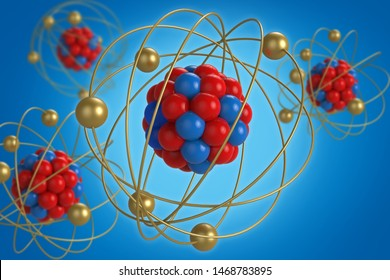 Atom molecule 3d rendering, protons neutrons and electrons