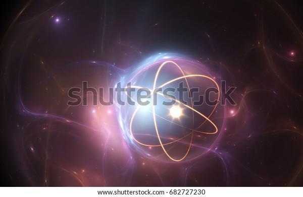 Atom-Nuklearmodell auf energetischem Hintergrund, 3D-Illustration