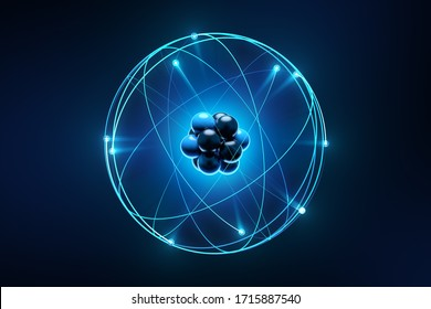 Atom surrounded by electrons. Conceptual picture of atom.