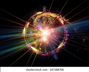 Atomic Wave  series. Composition of lights, orbits , waves and fractal elements suitable as a backdrop for the projects on science, theoretical physics, technology and education