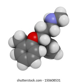 Atomoxetine attention-deficit hyperactivity disorder (ADHD) drug, chemical structure. Atoms are represented as spheres with conventional color coding: hydrogen (white), carbon (grey), etc
