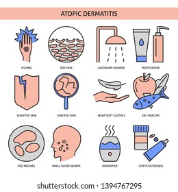 Atopic dermatitis symptoms and treatment icon set in line style. Skin allergy symbols isolated on white.