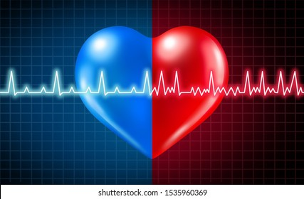 Atrial fibrillation medical condition and normal or abnormal heart rate rhythm as a cardiac disorder with healthy and unhealthy ecg monitoring with 3D illustration elements.