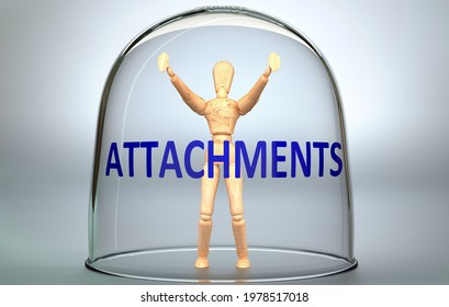 Attachments can separate a person from the world and lock in an isolation that limits - pictured as a human figure locked inside a glass with a phrase Attachments, 3d illustration