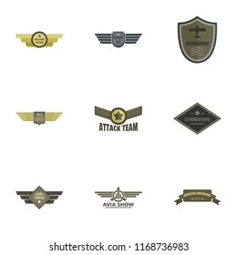Attack icons set. Flat set of 9 attack icons for web isolated on white background