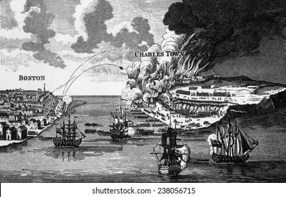 The attack on Bunker Hill and the burning of Charles Town, 1775, engraving from Barnard's 'History of England,' 1790