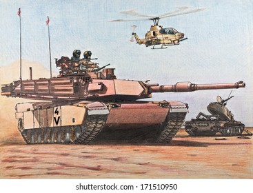 attacking American tank M1A2 Abrams passes a destroyed Iraqi T-55 tank