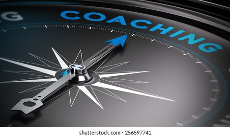 Attain personal goals, personal trainer concept. Conceptual Compass with needle pointing to the word coaching.