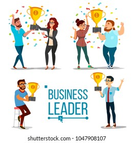 Attainment Concept. Set Business Man And Woman. Attainment, Company Progress. Management Goal. Golden Cup Award. Celebrating Success. Team Achievement. Cartoon Illustration