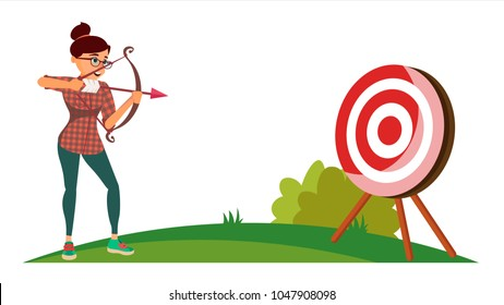 Attainment Winner Concept. Business Woman Shooting From A Bow In A Target. Objective Attainment, Achievement, Success, Leadership. Cartoon Illustration