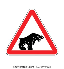 Attention bull. Caution Buffalo. Red road sign Danger