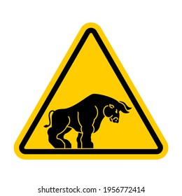 Attention bull. Caution Buffalo. Yellow road sign Danger