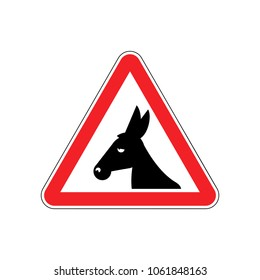 Attention donkey driving. jackass on red triangle. Road sign attention stupid loser