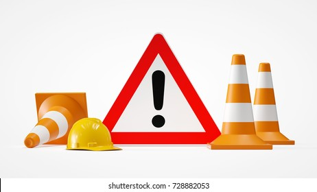 Attention sign with hardhat helmet and traffic cones as 3d rendering