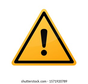 Attention sign. Warning caution board. Black exclamation mark in yellow triangle frame. Precaution message on banner. Alert icon isolated on background. Button to attract attention. Danger symbol