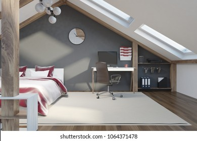 Attic bedroom interior with gray walls, a red king size bed, and a home office. A beautiful style. Windows in the roof. 3d rendering mock up